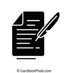 Real letter black icon, concept illustration, vector flat symbol, glyph sign.