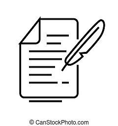 Real letter line icon, concept sign, outline vector illustration, linear symbol.