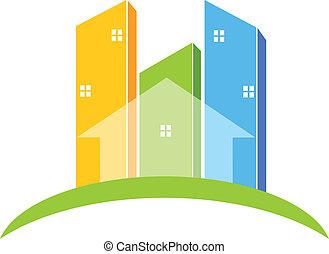 real, logotipo, edifícios, propriedade
