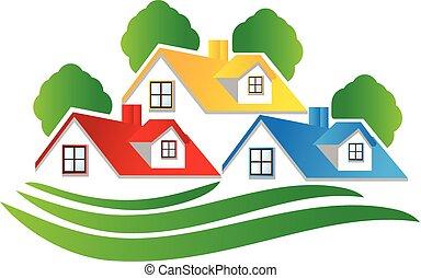 real, logotipo, propriedade, casas