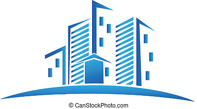 real, logotipo, skyline, edifícios, propriedade