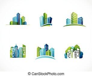 real, logotipos, cidade, ícones, propriedade, skyline