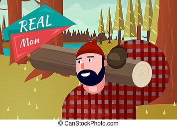 Real Man Lifestyle Natural Life Cartoon Retro Wood...