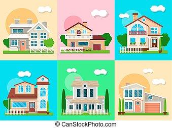 real, mansões, cabanas, casas, vetorial, objetos, propriedade, vila