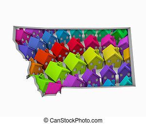 real, mapa, propriedade, lares, ilustração, mt, montana,...