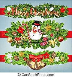 real merry christmas festive decoration banner set