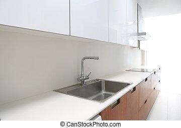 real, modernos, cozinha, em, branca, e, noz, madeira