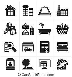 real, objetos, propriedade, ícones