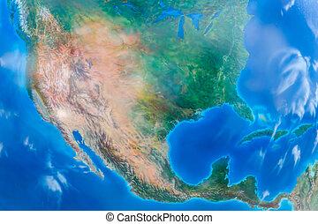real, olhar, terra, map., américa do norte, em, a, centro