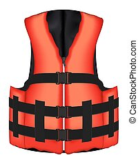 real orange life vest jacket vector on a white background