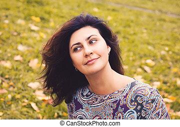 real, outono, mulher, parque, ao ar livre