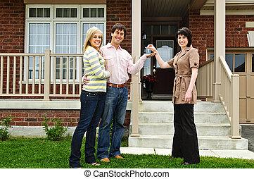 real, par, agente, propriedade, feliz