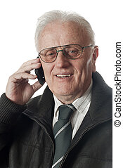 Real people - Happy Senior businessman with phone over white...