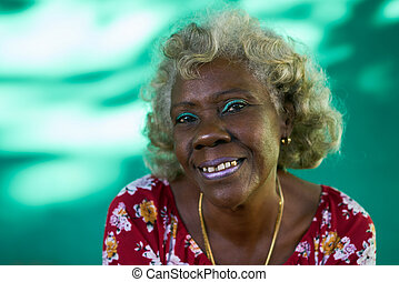 Real People Portrait Funny Elderly Woman Hispanic Lady Laughing