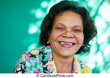 Real People Portrait Funny Senior Woman Hispanic Lady...