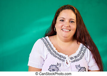 Real People Portrait Happy Overweight Hispanic Woman...