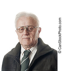 Real people - Senior businessman portrait over white...