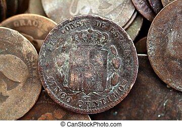 real, peseta, antigas, centavos, moeda corrente, república, 1937, moeda, espanha
