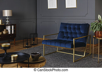 Real photo of a large, navy blue armchair with golden frame against dark wall with molding in elegant living room interior