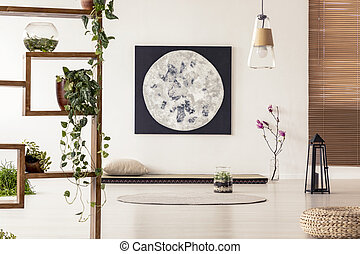 Real photo of a simple japanese room interior with wooden shelves with plants and big painting