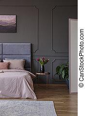 Real photo of beedroom interior with femine design