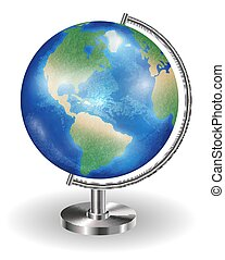 real planet earth globe with steel stand