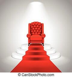 real, poltrona, ligado, escadas, com, tapete vermelho