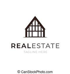 real, predios, apartamento, negócio, propriedade, casa, concept., ou, símbolo., emblem., aluguel, construção, modelo, logotipo, incorporado, companhia, ícone