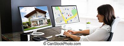 real, procurar, online, propriedade, mulher