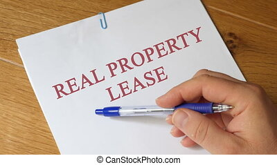 Real Property Lease Concept - Real Property Lease papers on...