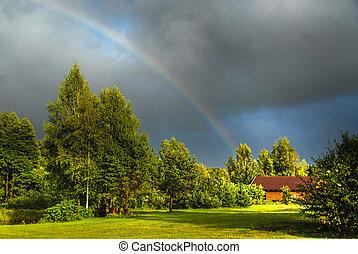 Real rainbow against a stormy sky