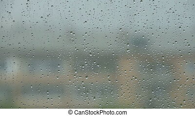Real raindrops on the window