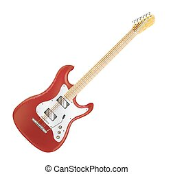 real red electric guitar on a white background
