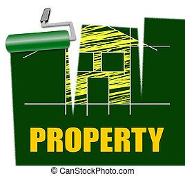 real, representa, propriedade, interior decorando, propriedade, quadro