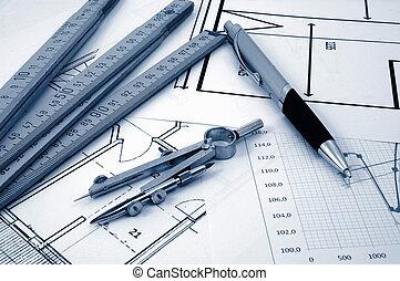 real, residencial, planos, propriedade, architectur