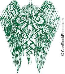 real, símbolo, com, asas