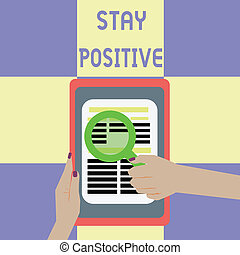 real, ser, comprometer, positive., uplifting, negócio, foto, mostrando, ficar, escrita, conceitual, optimista, showcasing, mão, pensamentos