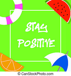 real, ser, comprometer, positive., uplifting, texto, mostrando, ficar, optimista, foto, conceitual, sinal, pensamentos