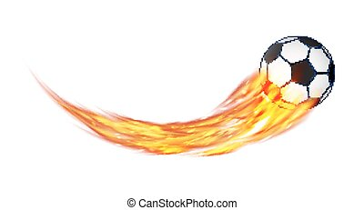 real soccer football with a burning fire vector
