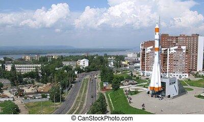 Real Soyuz type rocket as monument in Samara, time lapse