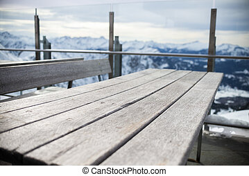 real table desk in the mountain, winter