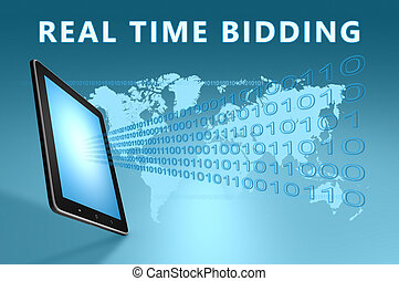 Real Time Bidding illustration with tablet computer on blue...