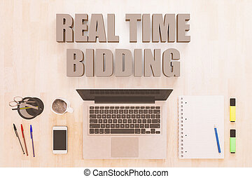 Real Time Bidding - text concept with notebook computer,...