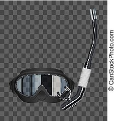 real transparent glasses scuba diving mask vector