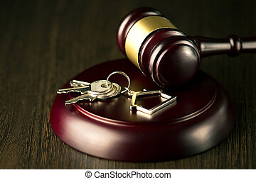 real, vender, aviso de concurso, propriedade, casa madeira, advogado, gavel, lar, ou, comprando