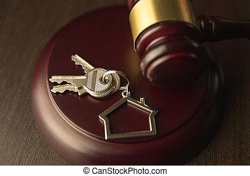 real, vender, aviso de concurso, propriedade, casa madeira, concept., leilão, advogado, gavel, lar, ou, comprando