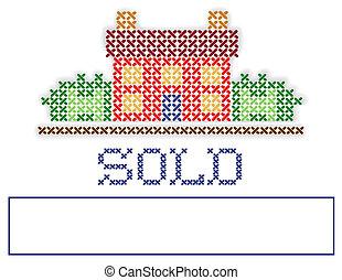 real, vendido, jarda, propriedade, sinal