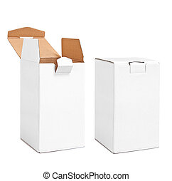 Real Vertical blank carton boxes opened and closed isolated on white