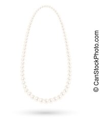 real white pearl necklace vector on a white background