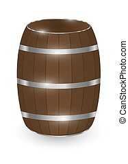 Real wood barrel on a white background.